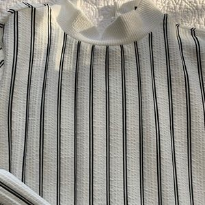 Black and white striped cotton blouse